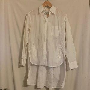 Y-3 White Button Down shirt Rainbow stripe shirt